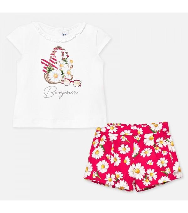 Set tricou cu bermude flori bebe fetita MY-SET65P