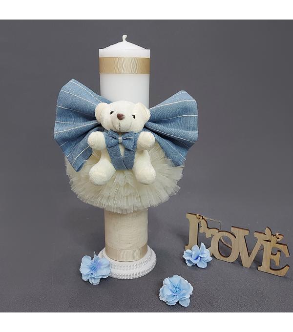 Lumanare botez baiat ursulet bleu NB-LUMANARE01X