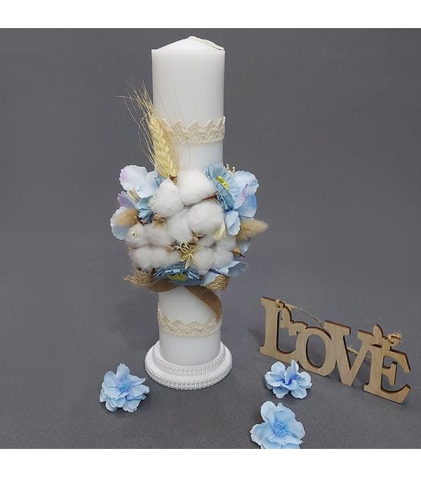 Lumanare botez baiat flori si spic grau SP-LUMANARE04X