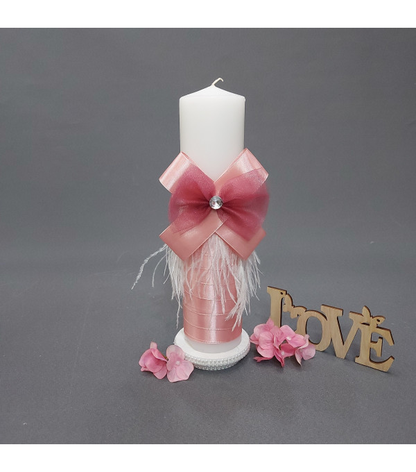 Lumanare botez fata funda roz si pene SP-LUMANARE03X
