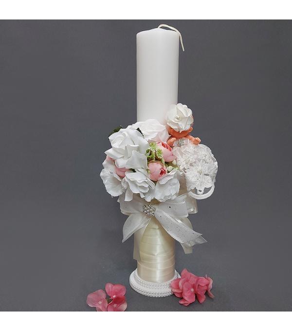 Lumanare botez fata flori albe si bebe NB-LUMANARE01X