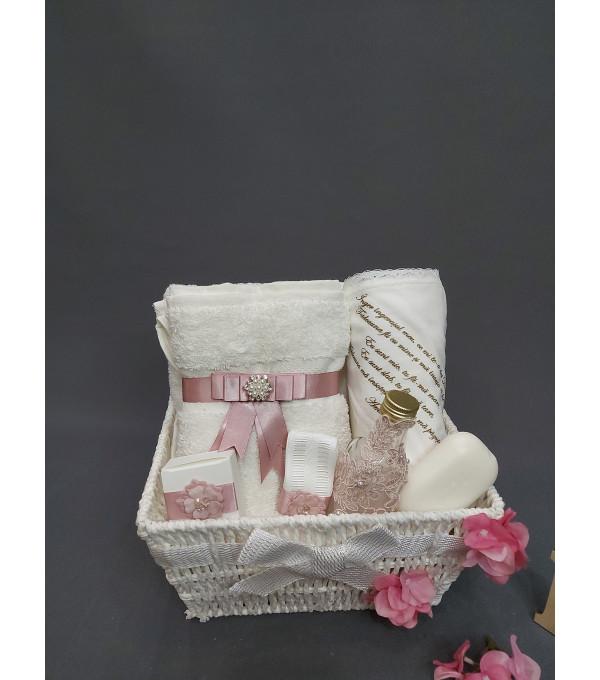 Trusou botez broderie roz pudra NB-TRUSOU01P