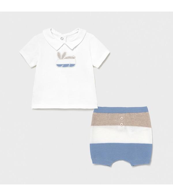 Set pantaloni scurti cu dungi nou-nascut baiat 01203 MY-SET03X