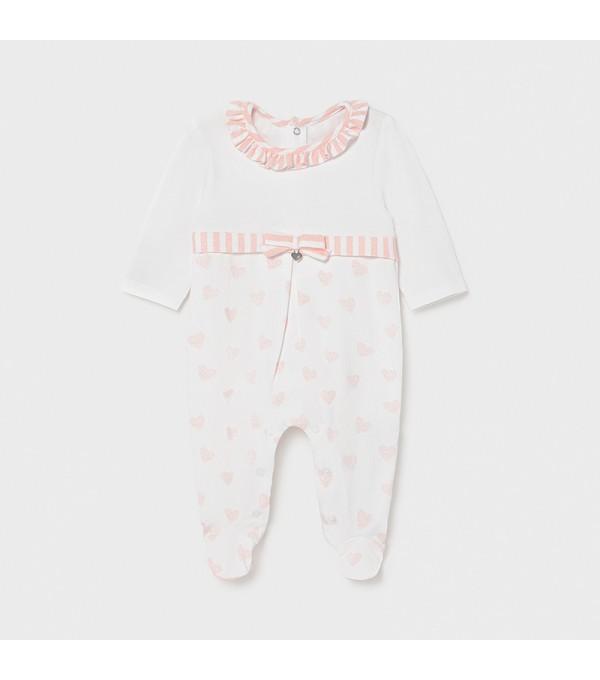 Pijama alb- roz inimioare fata 01604 MY-PIJA02X