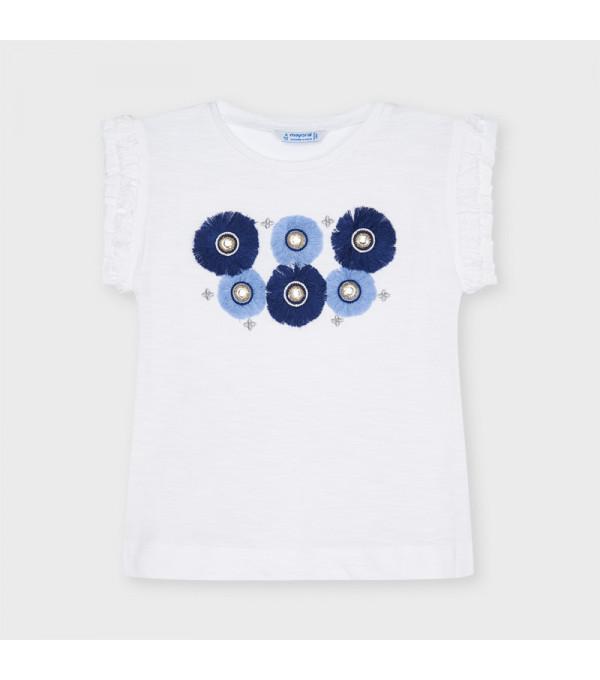 Tricou aplicatii flori albastre fetita 3024 MAYORAL MY-BL45X