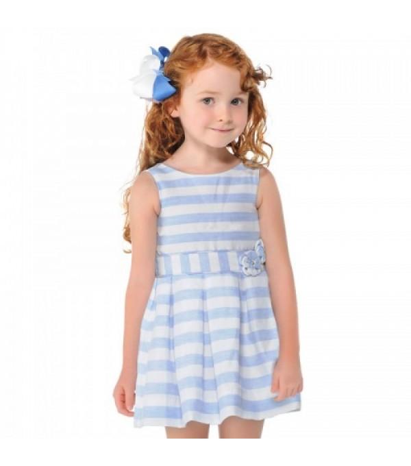 Rochie fete cu dungi albe-blue Mayoral My-r57g