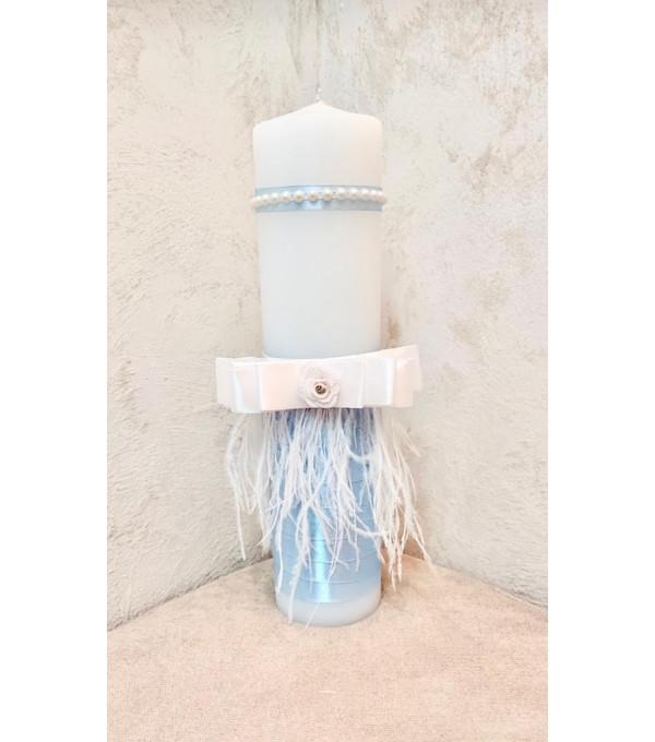 Lumanare baiat bleu si pene albe SP-LUMANARE03X