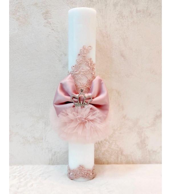 Lumanare botez fata roz coronita NB-LUMANARE01X