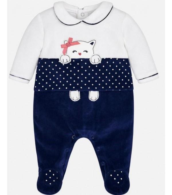 Pijama catifea alb-bleumarin Mayoral My-pija07a