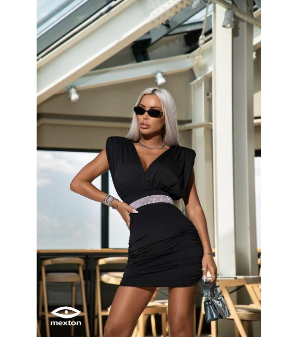 Rochie neagra de ocazie Mexton MEXR8733X