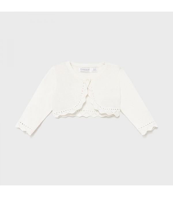 Bolero alb tricot fetita Mayoral My-bo01x