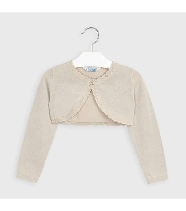 Bolero bej tricot basic fetita 00314 MY-BO02P