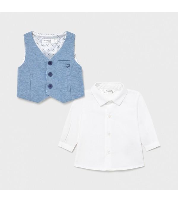 Camasa maneca lunga si vesta bleu nou-nascut baiat 01172 MY-CM06X