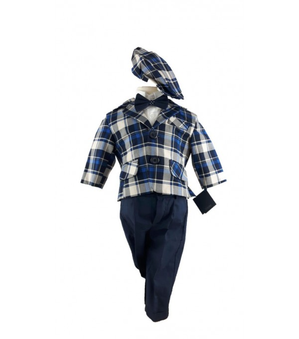 Costum botez carouri albastre-bleumarin NB-COS01P