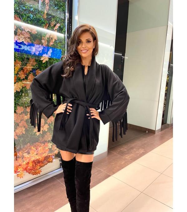 Palton negru cu franjuri IT-PLT02Y