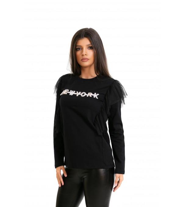 Bluza neagra cu volane tull dama IT-BL15V