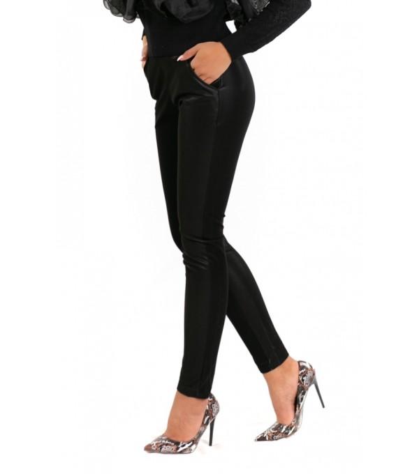 Pantaloni piele eco cu buzunare laterale IT-PL15V