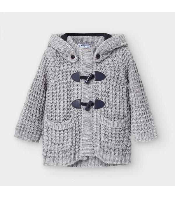 Jacheta gri tricot nasturi bebe baiat 02354 MY-G103Y