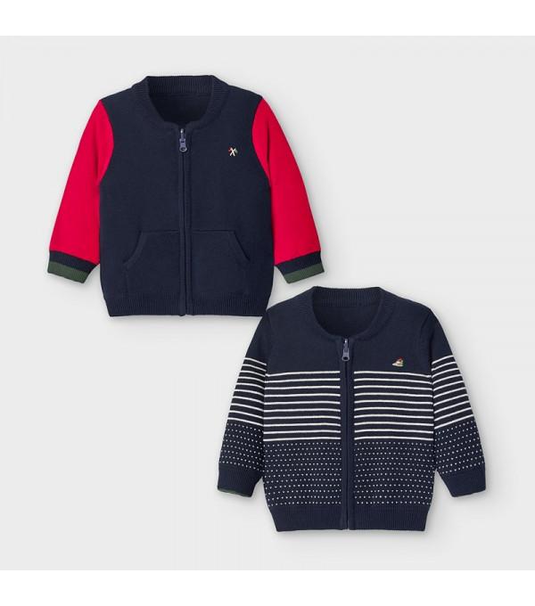 Jacheta tricot reversibila bebe baiat 02356 MY-BL135Y