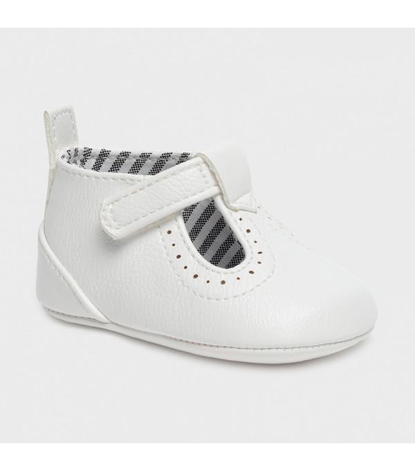 Pantofi albi  piele ecologica nou-nascut baiat 9392 MY-PANTF08X