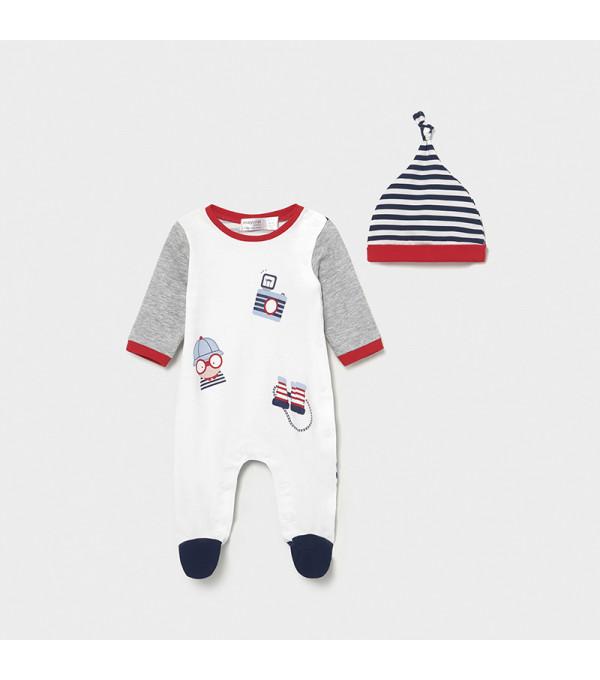 Pijama cu caciulita nou-nascut baiat 1632 MY-SET07X