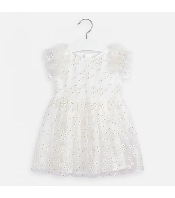 Rochie de fată din tul alba Mayoral MY-R18P