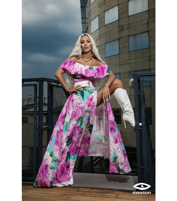 Rochie lunga inflorata lila Mexton MEXR8667X