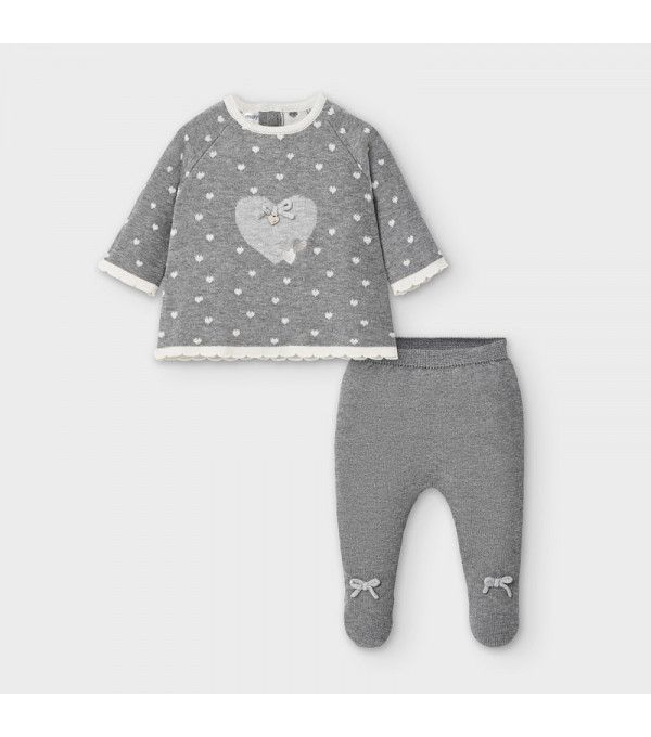 Set pantaloni cu picior tricot new born fata 2547 MY-SET01V