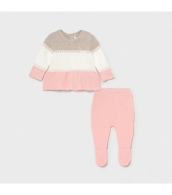 Set roz pantaloni cu botosei tricot fata 01561 MY-SET04X
