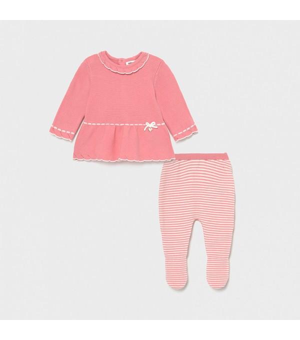 Set roz pal pantaloni cu botosei tricot  fata 01561 MY-SET04X