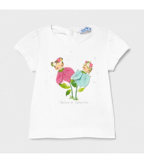 Tricou Ecofriends aplicatii flori bebe fetita 1079 Mayoral MY-BL60X