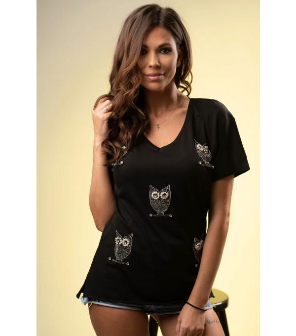 Tricou negru dama imprimeu bufnite mici IT-BL09x