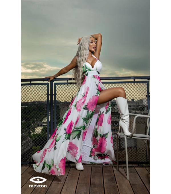 Rochie lunga alba cu flori roz Mexton MEXR8673X